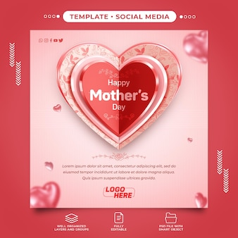 3d social media postcard happy mothers day with editable text
