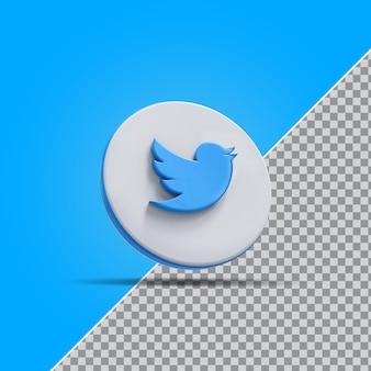 Значок твитера в социальных сетях 3d