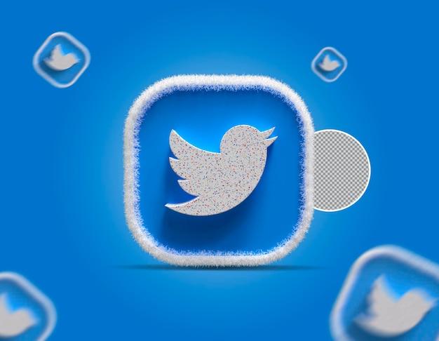 3d 소셜 미디어 트위터 아이콘