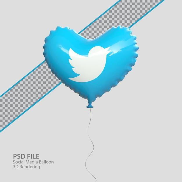 3d твиттер в социальных сетях в стиле воздушного шара