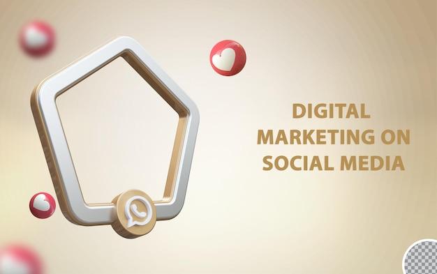 3d социальные сети whatsapp с макетом кадра