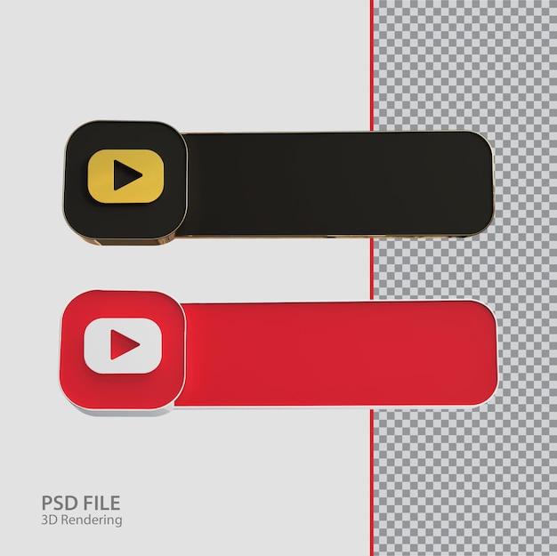 Креатив с лейблом youtube в социальных сетях 3d