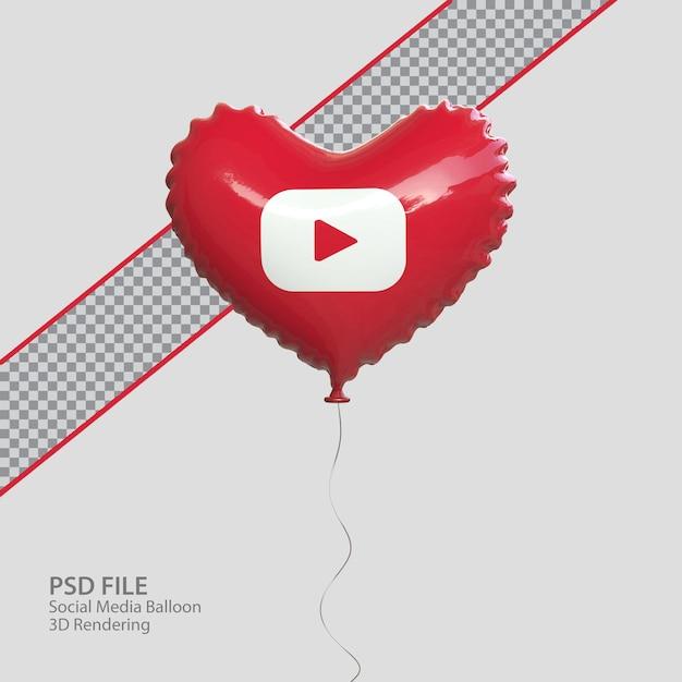 3d социальные сети youtube в стиле воздушного шара