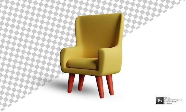 Дизайн иллюстрации 3d диван на белом фоне