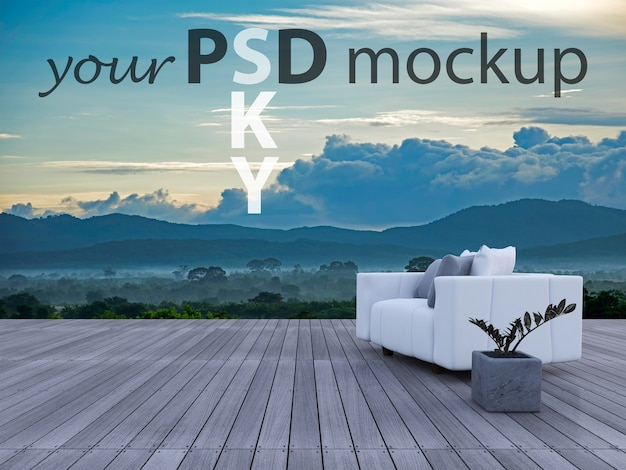 3d sofa on sundeck mountain view