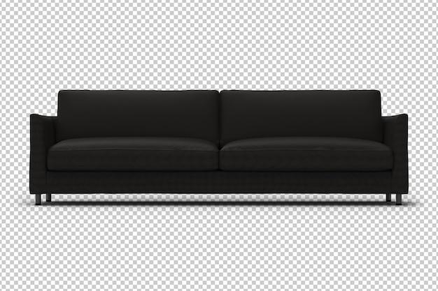 3d sofa. transparent wall. front view.