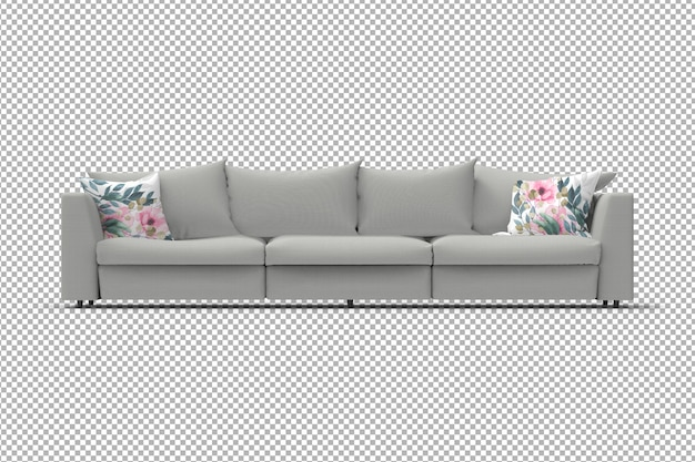 3d sofa with pillows isolated