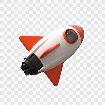 3d space rocket isolated
