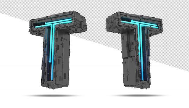 3d космический корабль с неоновым световым эффектом