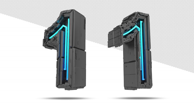 3d spaceship number with neon light effect