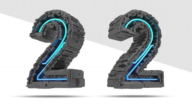 ネオンライト効果の3d宇宙船番号