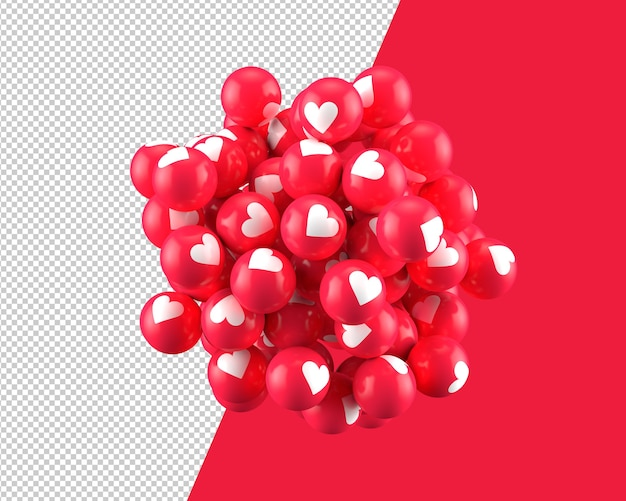 3d spheres of heart icon