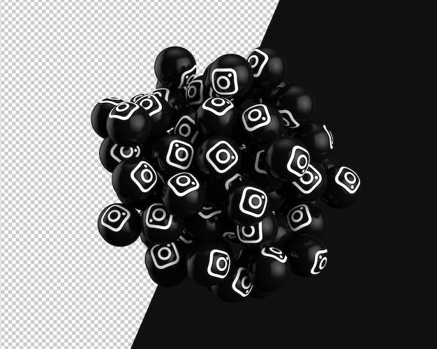 3d spheres of instagram icon