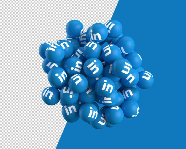 3d spheres of linkedin icon