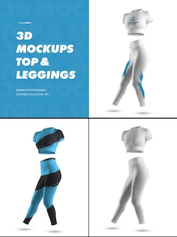 3d sports leggings and top mockups