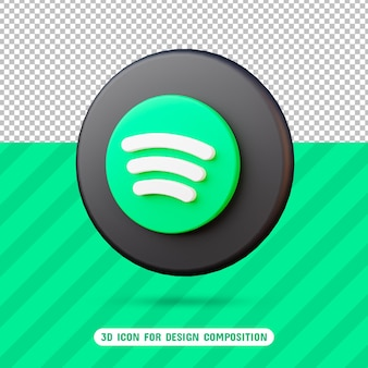 3d spotify icon in 3d rendering isolated
