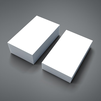 3d stack of blank business cards