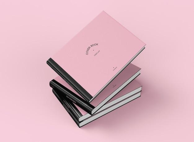 3d шаблон горизонтальных книжных обложек с накоплением