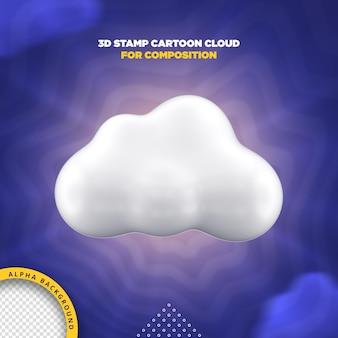 3d stamp cartoon cloud