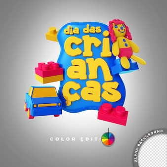 3d stamp element for psd composition for childrens day brazil sales