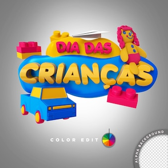 Elemento timbro 3d per la composizione psd per le vendite del giorno dei bambini in brasile