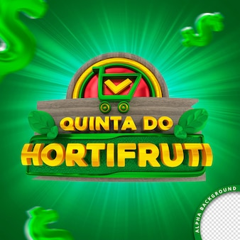 3d stamp in portuguese for composition thursday of the hortifruti supermarket of fruits vegetables