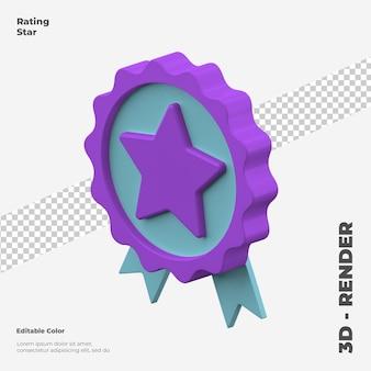 Изолированный макет значка рейтинга 3d звезды