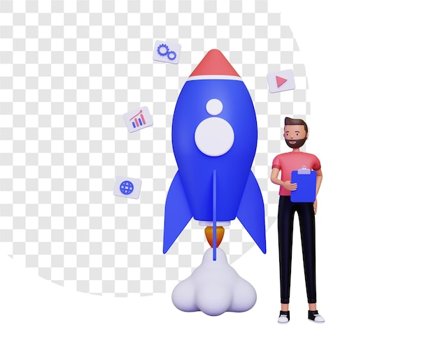3d startup life with a man holding notes and a flying rocket