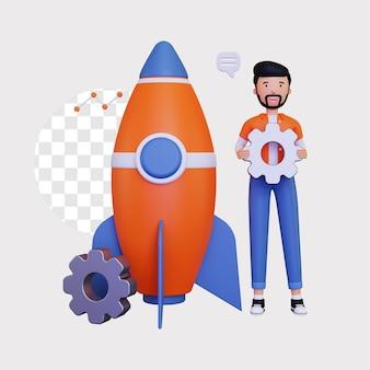 로켓과 기어의 3d 시작