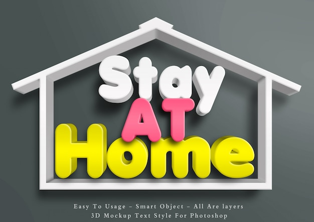 3d stay at home text style effect