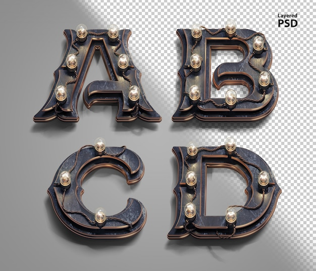 3d стимпанк алфавит с ламповыми лампами. буква a, b, c, d.