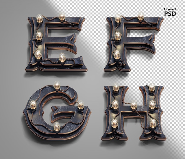 3d стимпанк алфавит с ламповыми лампами. буква e, f, g, h.