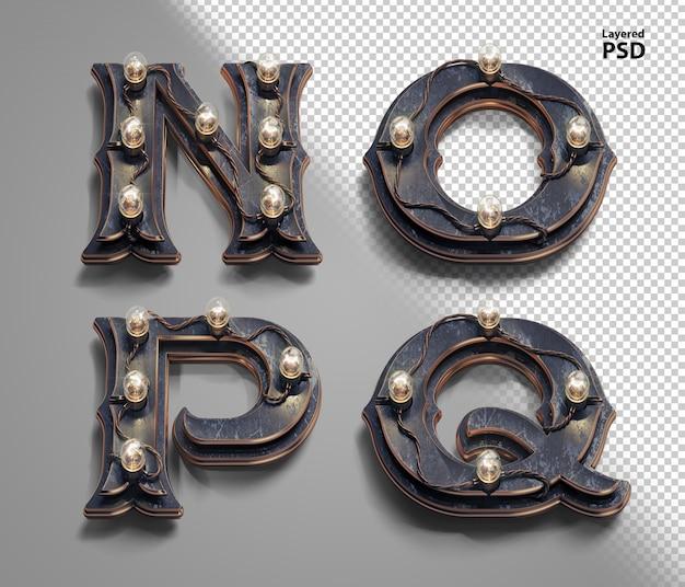 3d стимпанк алфавит с ламповыми лампами. буква n, o, p, q.