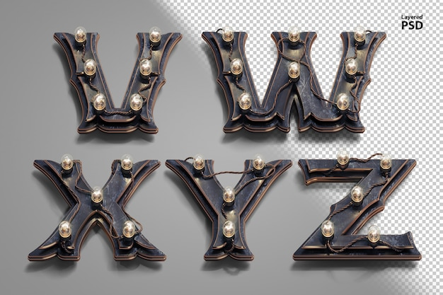3d steampunk alphabet with tube lamps. letter v, w, x, y, z.