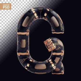 3d стимпанк черная буква с бронзовыми частями Premium Psd