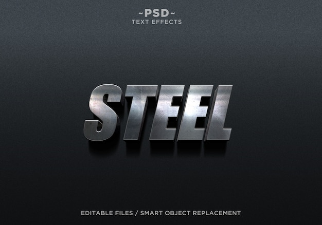 3d steel metal 2 effect editable text