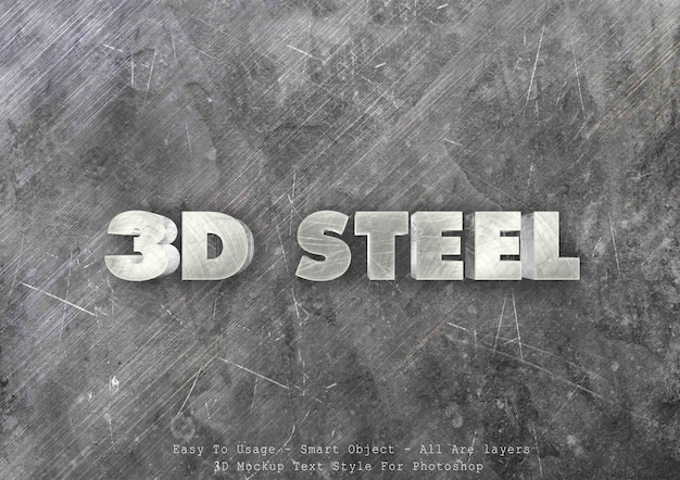 3d steel text style effect