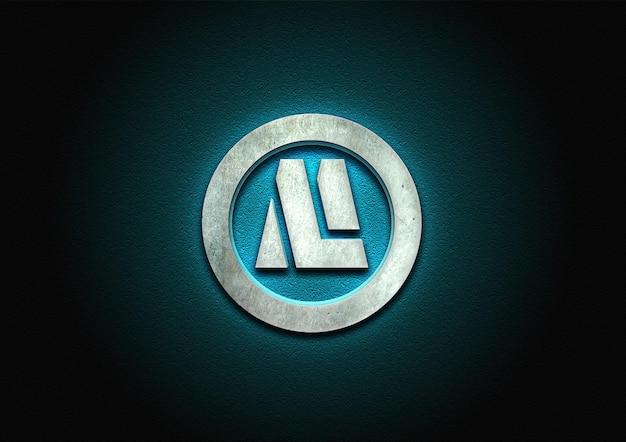 3d stone logo mockup