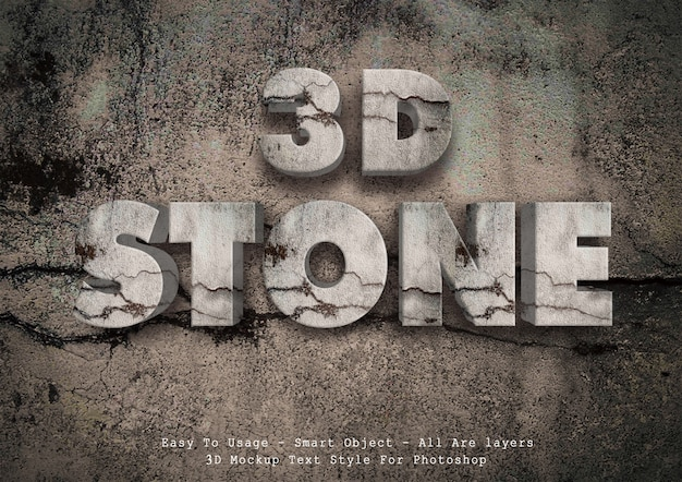 3d stone text style
