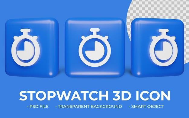 3d 스톱워치 또는 타이머 시계 아이콘 디자인 절연