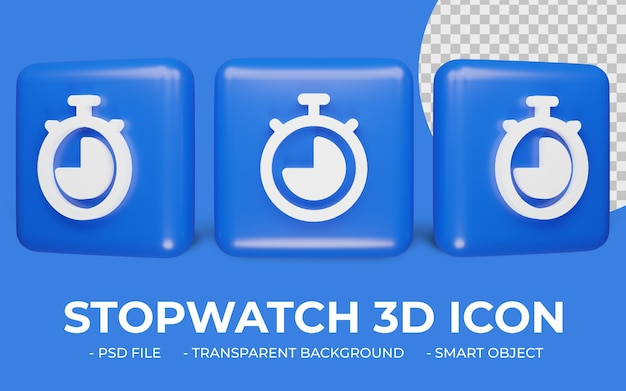 3d stopwatch or timer watch icon design isolated Premium Psd