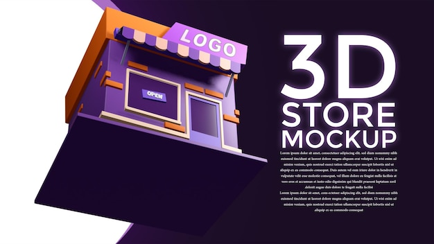 3d store mockup from all directions