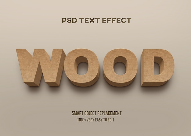 3d strong bold wood text effect