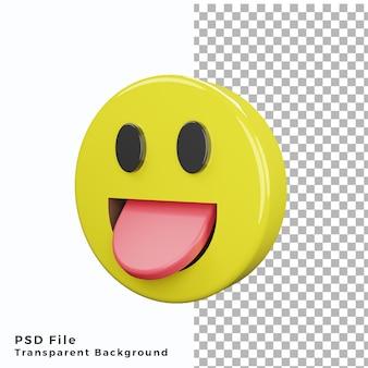 3d высунутый язык смайлик значок эмодзи высококачественные файлы psd