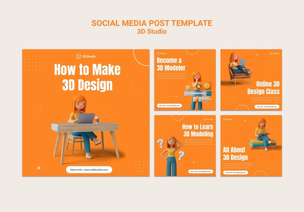 3d studio social media post template