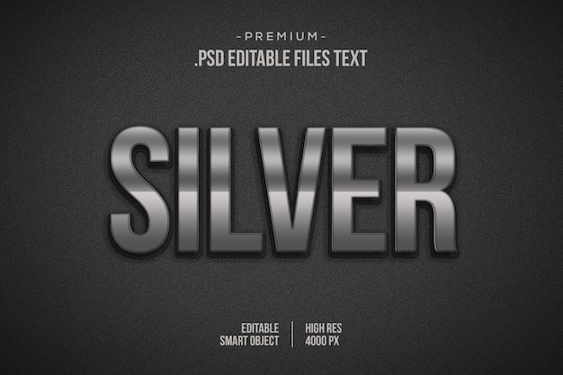 Серебряный текстовый эффект, 3d серебряный слой style, 3d серебряный макет эффекта стиля шрифта, shiny silver 3d style text effect