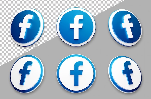 3d style facebook social media logo set