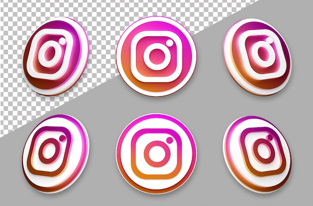 3d style instagram social media logo set
