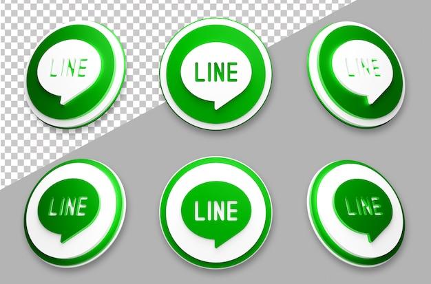 3 dスタイルラインソーシャルメディアのロゴセット