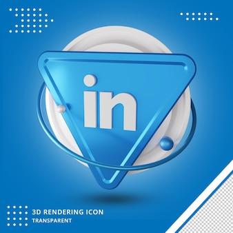 3d 스타일 링크드 인 소셜 미디어 로고 렌더링 아이콘 프리미엄 PSD 파일